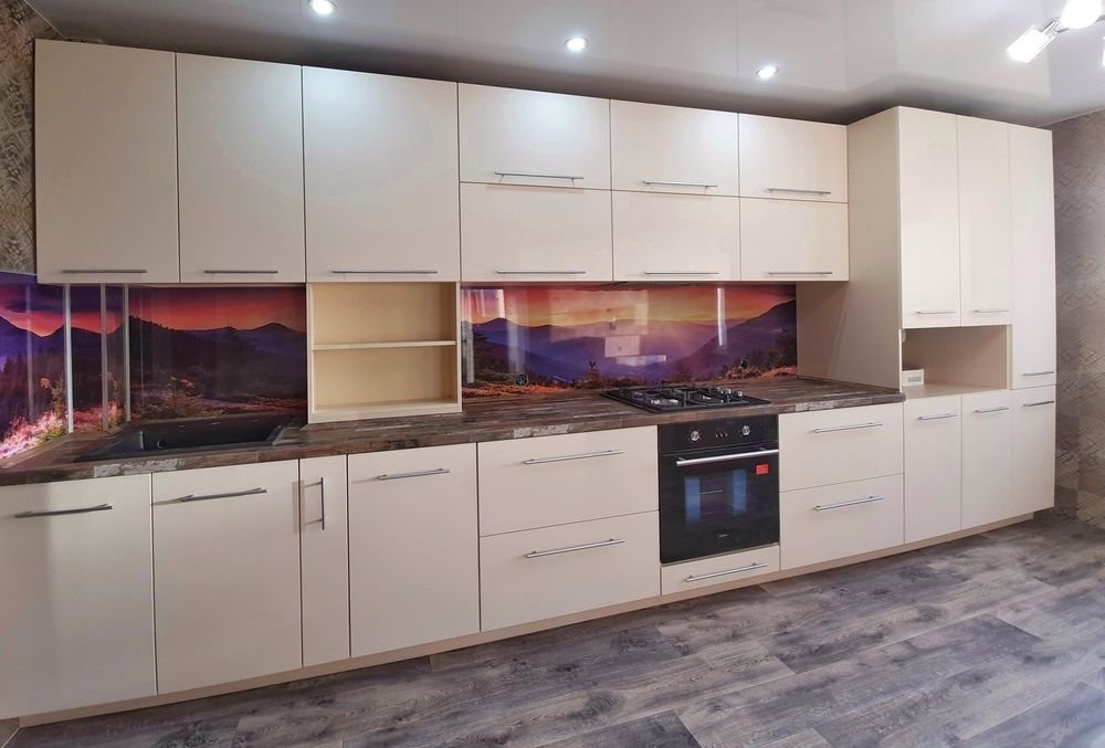 Белый кухонный гарнитур-Кухня МДФ в эмали «Модель 542»-фото2
