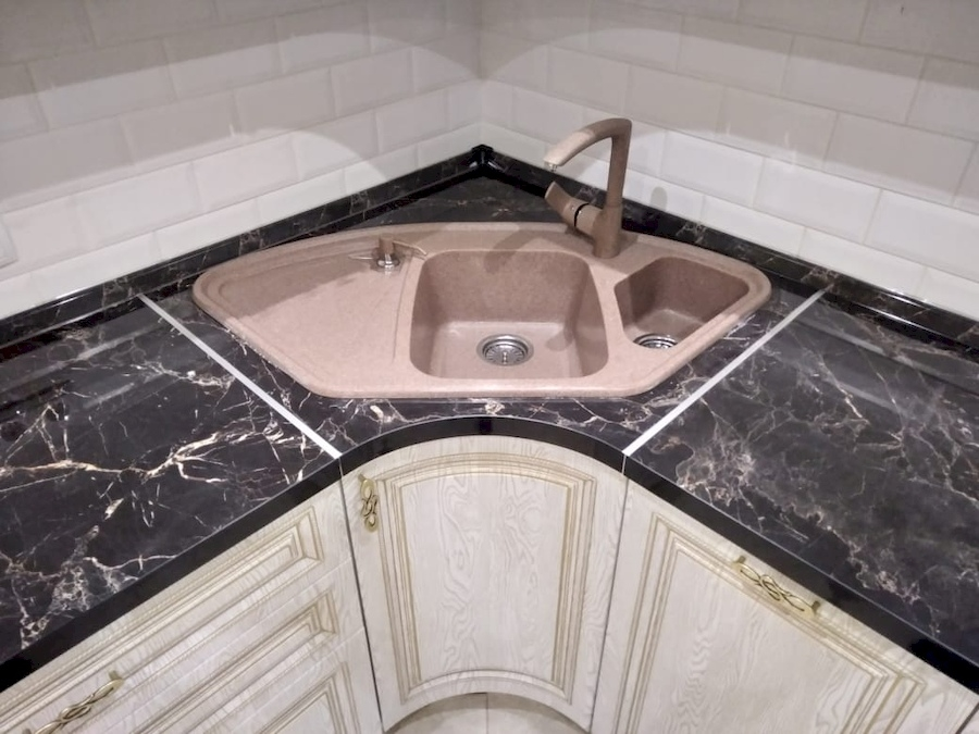 Белый кухонный гарнитур-Кухня из шпона «Модель 581»-фото7