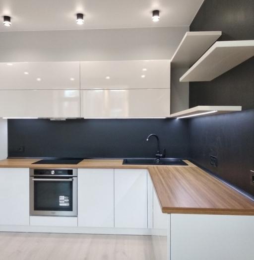 Белый кухонный гарнитур-Кухня МДФ в эмали «Модель 443»-фото3